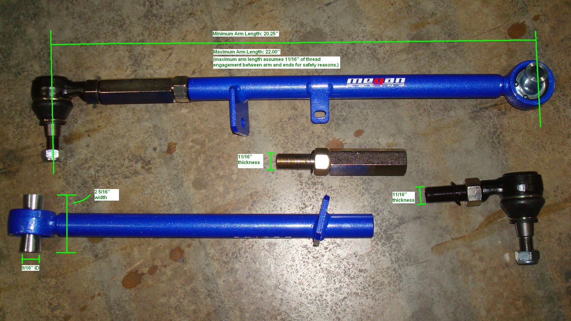 MEGAN RACING REAR LOWER CAMBER ADJ CONTROL ARM KIT FOR 03-11 MAZDA RX-8 RX 8